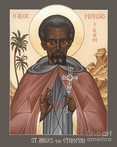 Painting - St. Moses The Ethiopian - Rlmte by Br Robert Lentz OFM