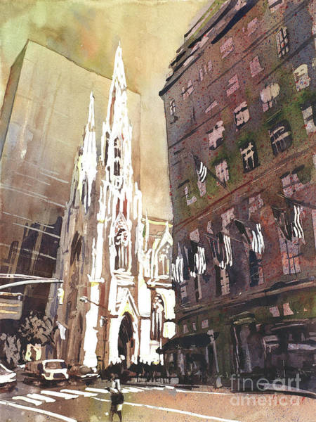 Wall Art - Painting - St Patricks Cathedral- New Yor City by Ryan Fox