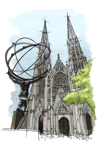 Wall Art - Painting - St. Patricks Cathedral, New York City Sketch by Drawspots Illustrations
