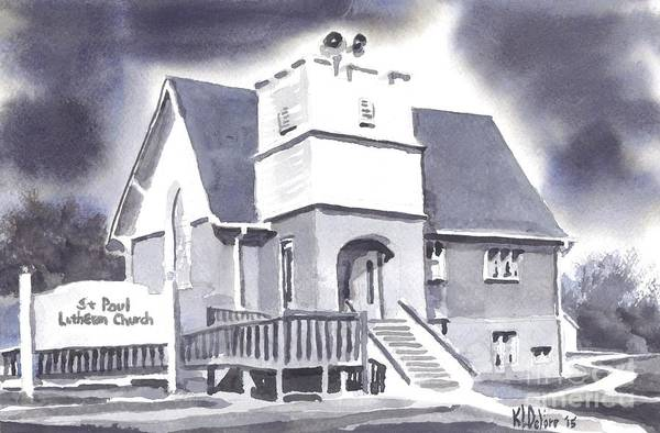 Painting - St Paul Lutheran With Ink by Kip DeVore