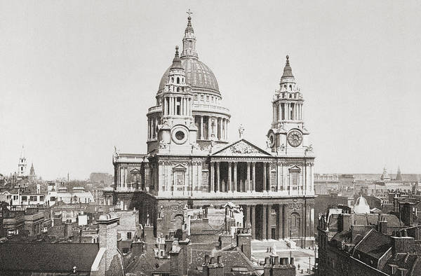 Wall Art - Drawing - St. Paul S Cathedral, London, England by Vintage Design Pics