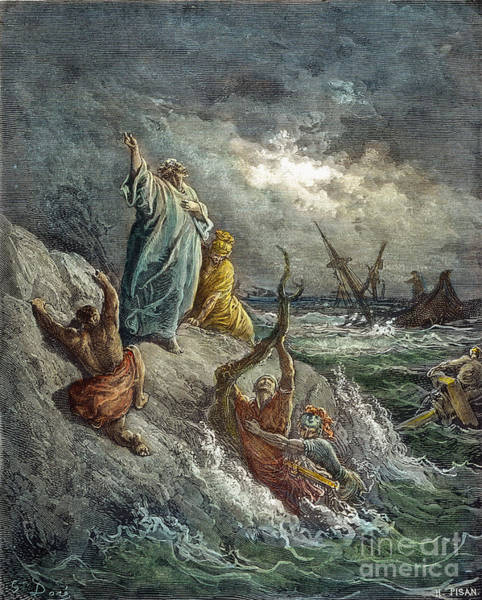 Stormy Drawing - St. Paul Shipwreck by Gustave Dore