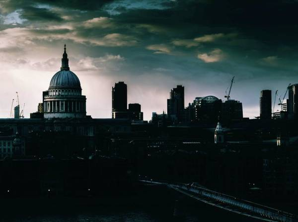 Photograph - St Paul's Cathedral And Millennium Bridge In The Evening In London, England by Alexandre Rotenberg