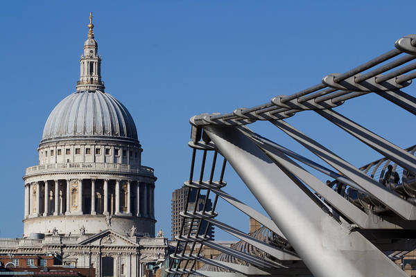 Millenium Photograph - St Pauls Cathedral And The Millenium Bridge  by David Pyatt
