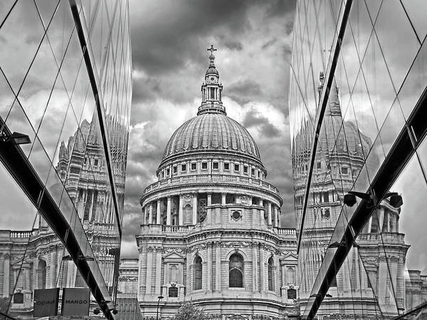 Photograph - St Pauls Cathedral Reflections - Black And White by Gill Billington