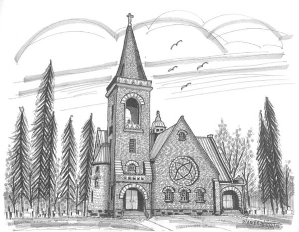 Drawing - St Pauls Lutheran Church Red Hook Ny by Richard Wambach