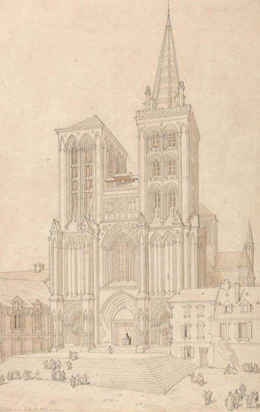 Drawing - St. Peter At Lisieux, Normandy - West Front by John Sell Cotman
