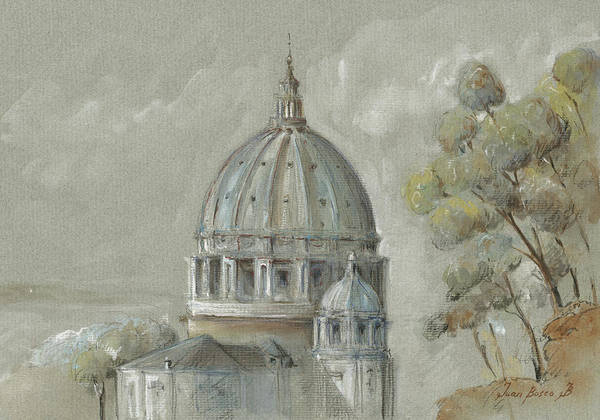 Wall Art - Painting - St Peter's Basilica Rome by Juan Bosco
