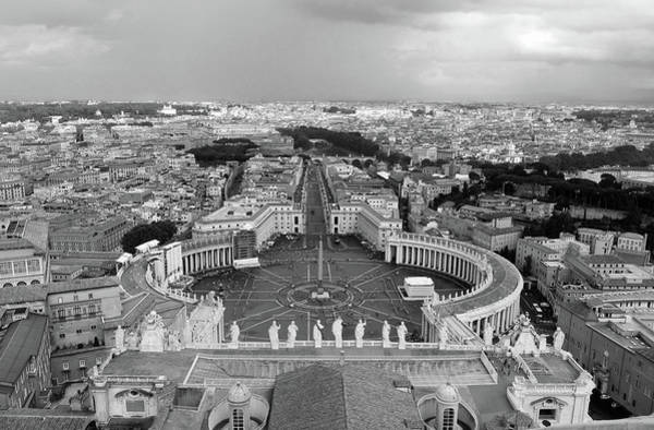 Saint Peters Square Photograph - St. Peter's Square Black And White by Sierra Vance