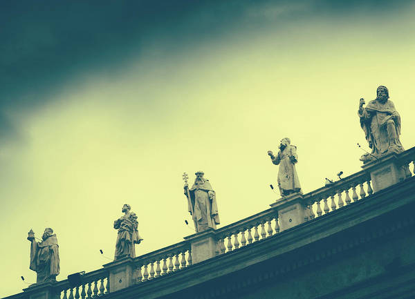 Photograph - St. Peter's Square, Vatican Statues by Alexandre Rotenberg
