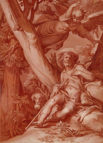 Baroque Drawing - St. Roch by Abraham Bloemaert