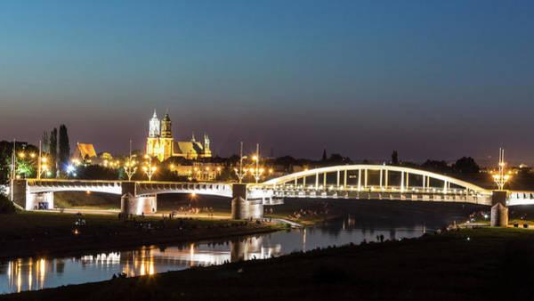 Photograph - St. Rocha Bridge With Poznan Cathedral by Jacek Wojnarowski