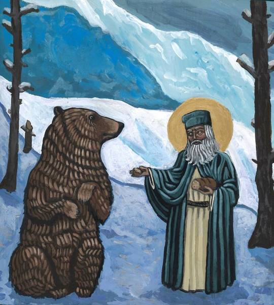 Painting - St. Seraphim And Bear by Kelly Latimore