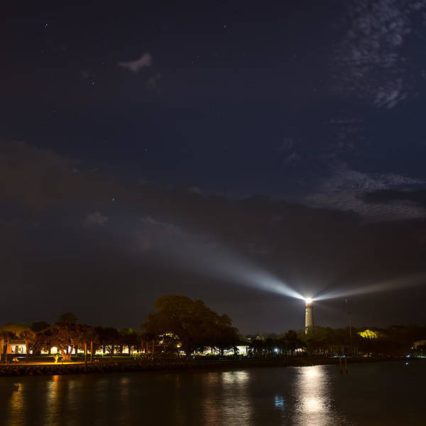 Photograph - St. Simons Island Lighthouse At Night by Chris Bordeleau