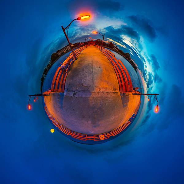 Photograph - St. Simons Pier Twilight Tiny Planet by Chris Bordeleau
