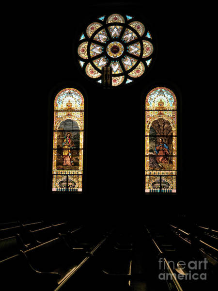 Photograph - St. Stainislaus Winona Stained Glass Dark Interior by Kari Yearous