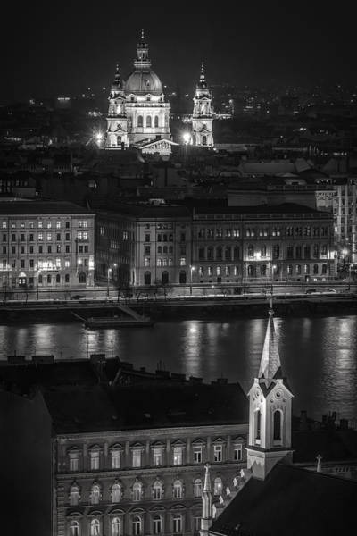 Photograph - St Stephens Basilica Night Bw by Joan Carroll