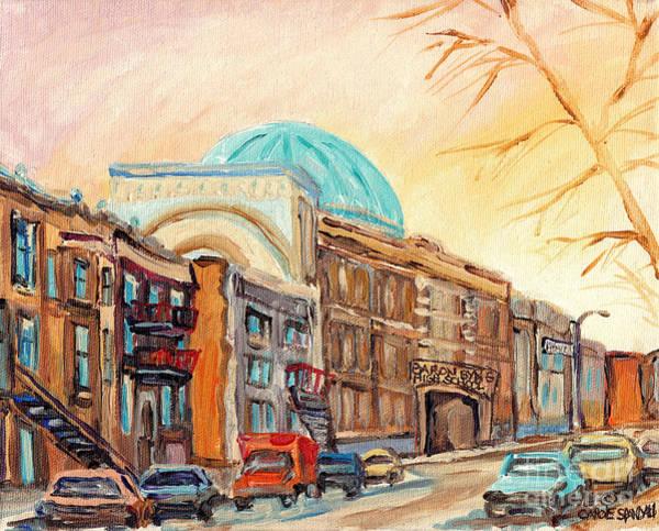 Painting - St Urbain Street Scene Baron Byng High School Painting Montreal Memories Carole Spandau              by Carole Spandau