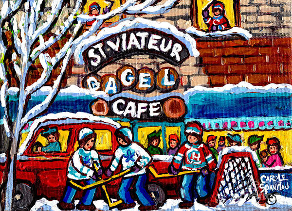 Painting - St Viateur  Bagel Cafe Monkland Streetscenemontreal Winter Hockey Art Canadian Painting C Spandau by Carole Spandau