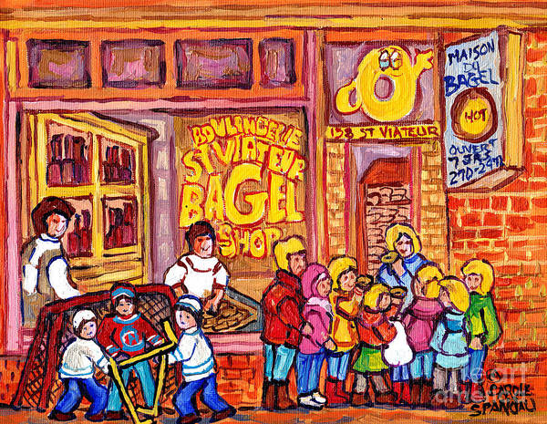 Painting - St Viateur Bagel Shop Montreal Art Kids And Bagels Hockey Fun C Spandau Canadian City Scene Painting by Carole Spandau