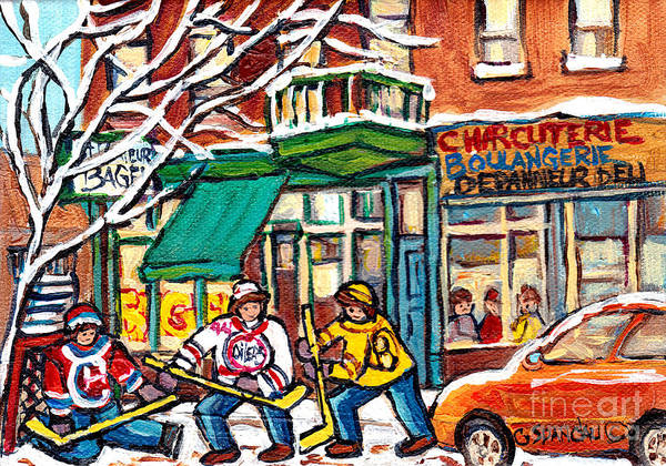 Painting - St Viateur Bagel Winterscene Painting For Sale Montreal Art Canadian Artist C Spanddau City Scenes   by Carole Spandau