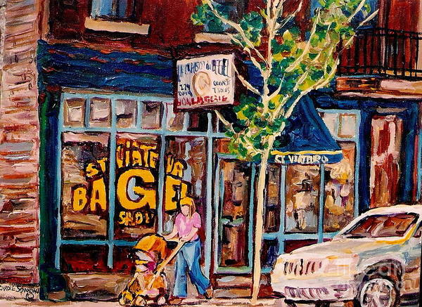 Painting - St Viateur Bagel With Baby Carriage Montreal Cityscenes by Carole Spandau