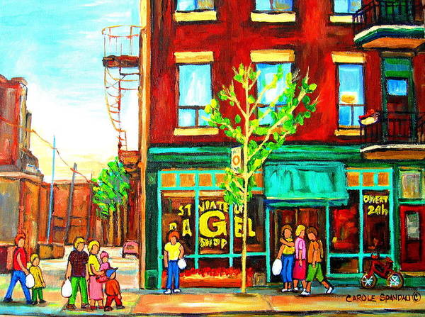 Painting - St. Viateur Bagel With Shoppers by Carole Spandau