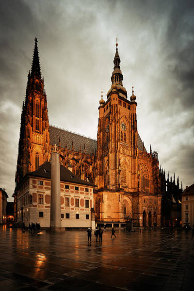 Photograph - St. Vitus Cathedral At Night by Songquan Deng