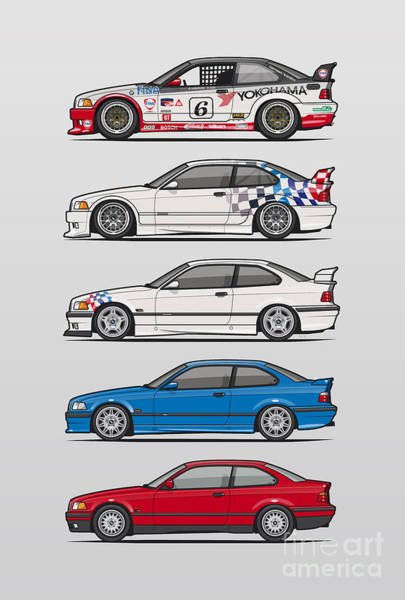 Wall Art - Digital Art - Stack Of Bmw 3 Series E36 Coupes by Monkey Crisis On Mars