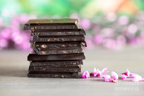 White Background Wall Art - Photograph - Stack Of Chocolate by Nailia Schwarz