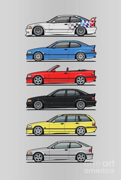 Wall Art - Digital Art - Stack Of E36 Variants by Monkey Crisis On Mars
