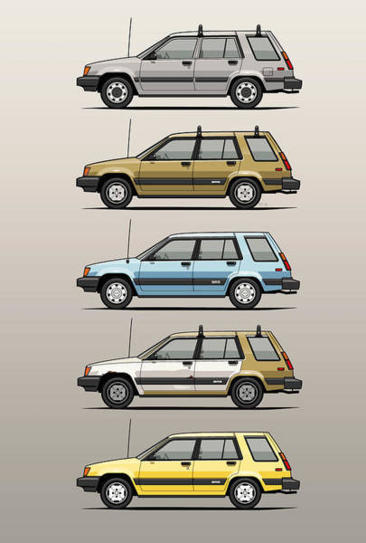 Wagon Digital Art - Stack Of Mark's Toyota Tercel Al25 Wagons by Monkey Crisis On Mars