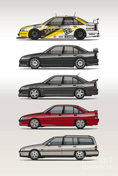 Wagon Digital Art - Stack Of Opel Omegas Vauxhall Carlton A by Monkey Crisis On Mars