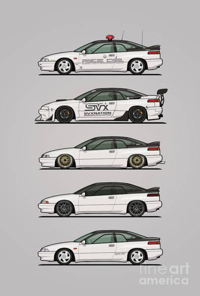 Wall Art - Digital Art - Stack Of Pearl White Subaru Alcyone Svx by Monkey Crisis On Mars