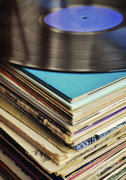 Vintage Photograph - Stack Of Records by Lyn Randle