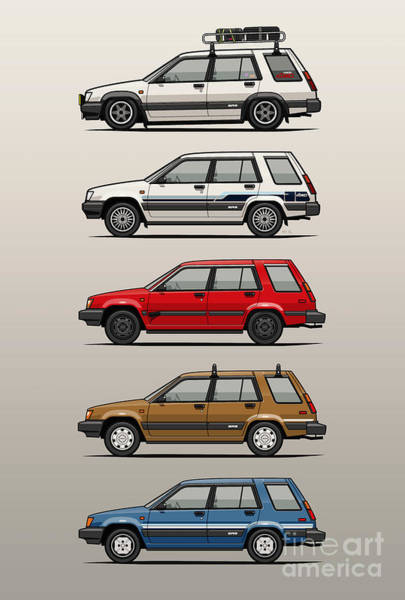 Wall Art - Digital Art - Stack Of Toyota Tercel Sr5 4wd Al25 Wagons by Monkey Crisis On Mars