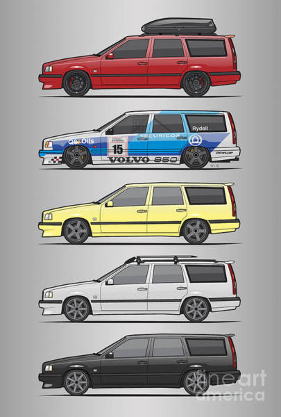 Wall Art - Digital Art - Stack Of Volvo 850r 855r T5 Turbo Station Wagons by Monkey Crisis On Mars