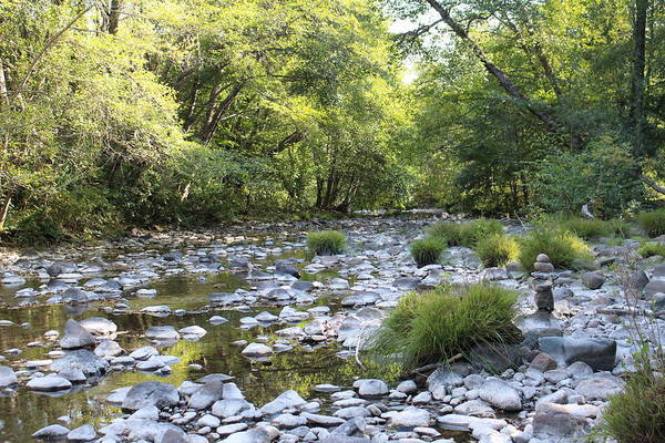 Shady Cove Photograph - Stacked Rocks At Elk Creek by Marie Neder