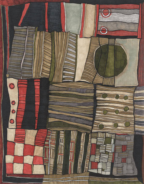 Checker Drawing - Stacked Shapes by Sandra Church