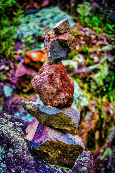 Juxtaposition Photograph - Stacked Stones Along The Trail by Garry Gay