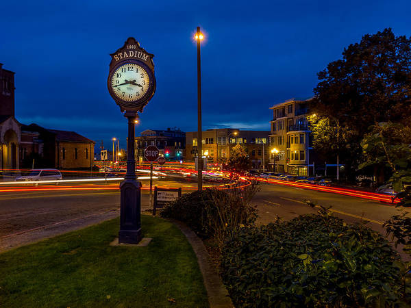 Photograph - Stadium Clock During The Blue Hour by Rob Green