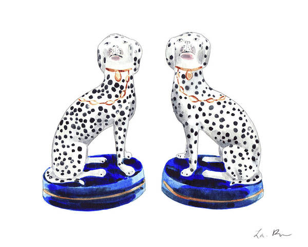 Wall Art - Painting - Staffordshire Dogs Art Dalmation Art Print Porcelain Chinoiserie Art Ginger Jar by Laura Row