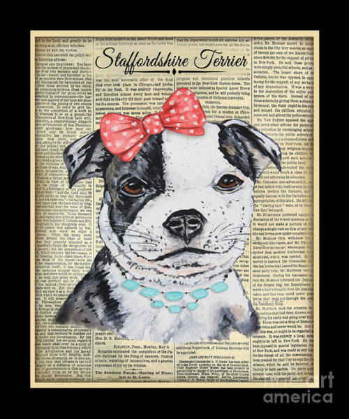 Staffordshire Wall Art - Painting - Staffordshire Terrier-jp3857 by Jean Plout