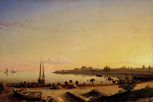 Painting - Stage Fort Across Gloucester Harbor By Fitz Henry Lane 1862 by Fitz Henry Lane