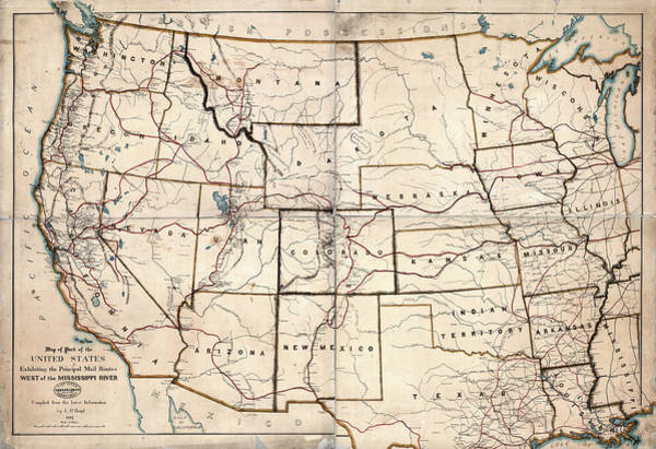 Wall Art - Photograph - Stagecoach And Mail Routes Of The American West  1867 by Daniel Hagerman