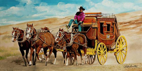 VINTAGE WESTERN SCALE STAGECOACH ART COWBOY HORSE DRAWN | eBay  |Large Western Stagecoach Art