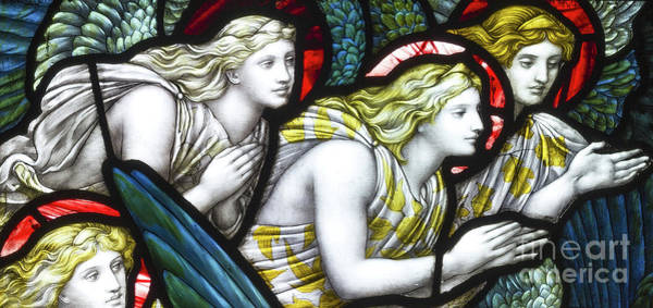 Wall Art - Glass Art - Stained Glass Angels by Henry Holiday