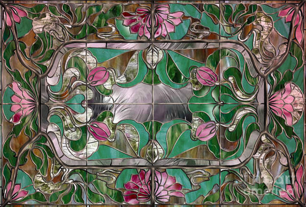 Stained Glass Painting - Stained Glass Art Nouveau Window by Mindy Sommers