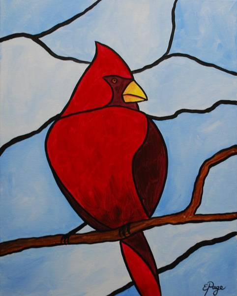Painting - Stained Glass Cardinal by Emily Page
