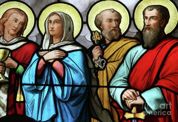 Wall Art - Glass Art - Stained Glass Church Window, St Peter, St Paul And Virgin Mary by American School